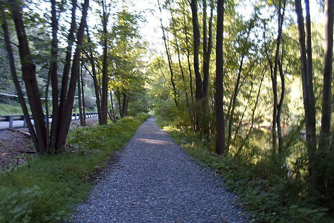 Swatara Rail-Trail Swatara Rail-Trail Shaded, tree-lined section between I-81 and the trail crossroads in Swatara State Park. Taken Aug. 2015.