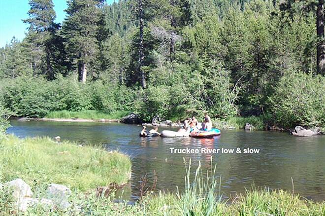 Tahoe Trailways Bike Path River Rafting Float Trip on Low & Slow River