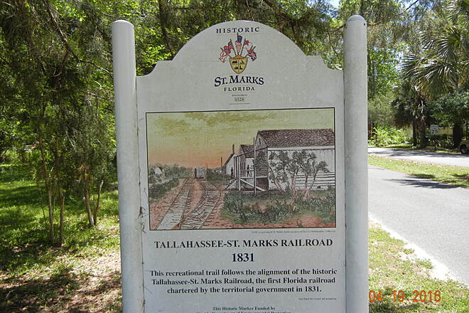 Tallahassee-St. Marks Historic Railroad State Trail St. Marks  Marker on trail between Wakulla & St. Marks
