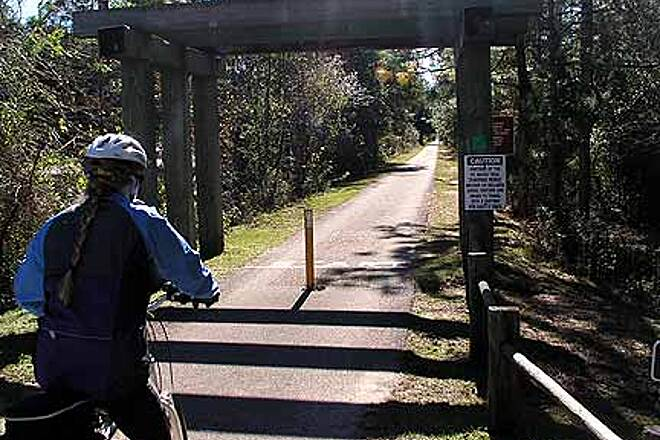 Tallahassee-St. Marks Historic Railroad State Trail At the main trailhead near Tallahassee