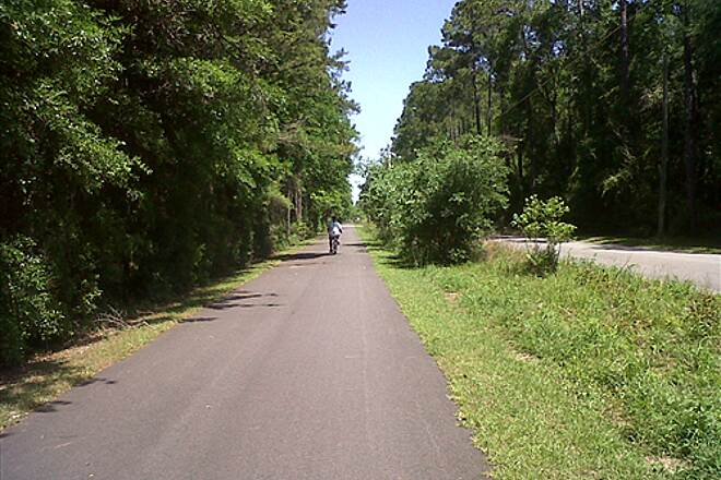 Tallahassee-St. Marks Historic Railroad State Trail St. Mark's Trail This is going north near mile marker 7 on the St. Mark's trail