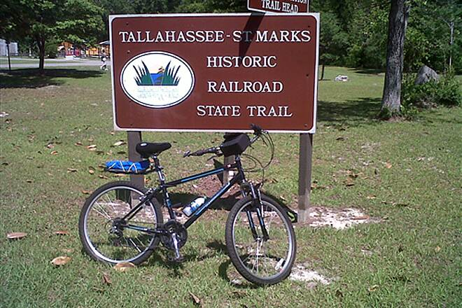 Tallahassee-St. Marks Historic Railroad State Trail Rest at Wakulla Station 'Old Faithful',my Diamond Back,at Wakulla sign