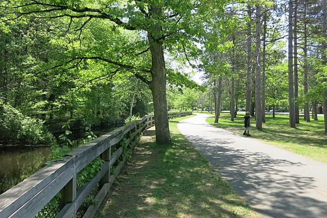 Ten Mile River Greenway passing through Slater Park