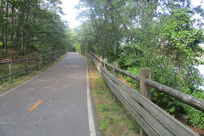 Ten Mile River Greenway Picture Fence Fence frames this lovely trail!