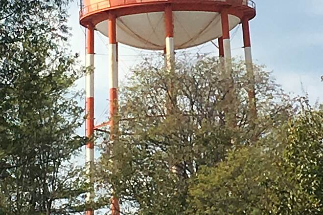 Tennessee Central Heritage Rail Trail Water tower along the trail Located near Cinderella Park and Brown Ave.