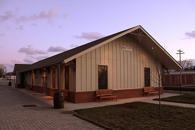 Tennessee Central Heritage Rail Trail Monterey Depot The depot in Monterey (on One East Depot Street) opened in 2012. It's a replica of a 1903 building. Inside is a museum with relics from the railroad and the area's past. Photo courtesy of Brent Moore, SeeMidTN.com.