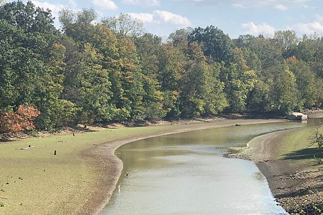 Thomas W. Hopper Legacy Trail Walnut Creek This is a view of Walnut Creek from the Galena Brick Trail bridge that spans this waterway.  Walnut Creek flows into the Hoover Reservoir, which supplies water to the city of Columbus, Ohio.  October 2019