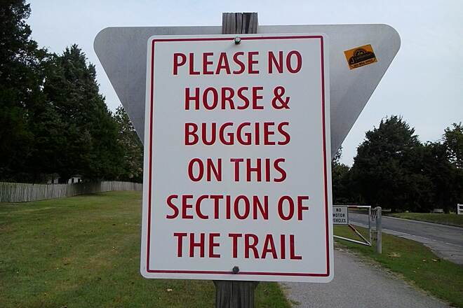 Three Notch Trail Watch out for horse poop! The Amish are allowed to drive their buggies along part of the trail.