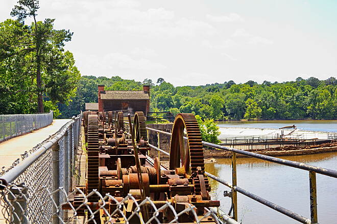 Three Rivers Greenway The lock gears. I love seeing the old engineering that went in to things built in the past.  I find it amazing they had the ability to pour and make such large gears in the early 1800's when this was built.