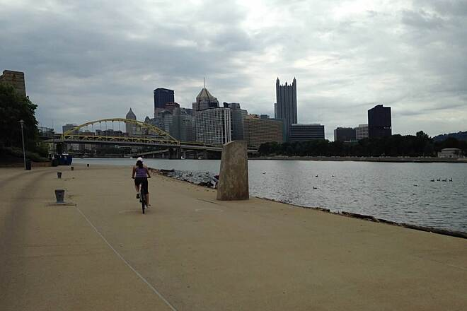 Three Rivers Heritage Trail Northward along the riverfront Overcast skies didn't effect the fun factor of this ride. Lots to see and do along this route and you'll be surprised at how quickly you can in and out of the city. Considering biking in and staying for fireworks next 4th of July.