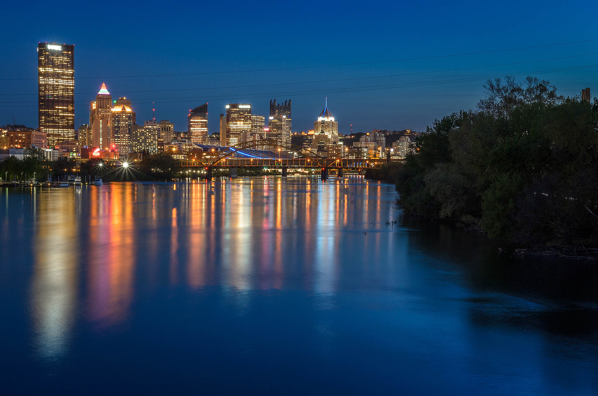 Three Rivers Heritage Trail Blue Hour From Washingtons Landing Bridge View of the City from the Bridge along the trail that take you to Washington's Landing