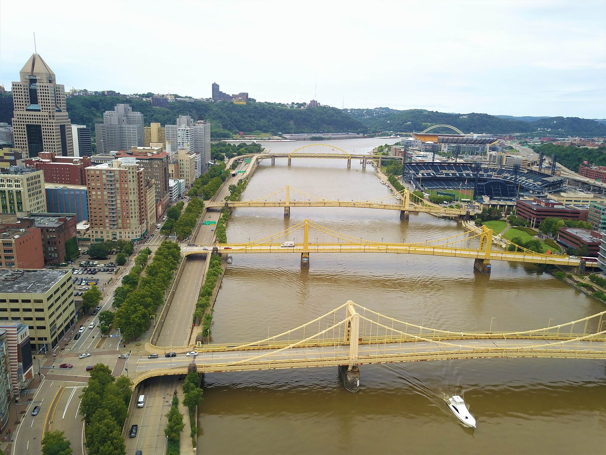 Three Rivers Heritage Trail Waterfront Aerial Aerial view of the trail along the Allegheny River waterfront in downtown Pittsburgh.