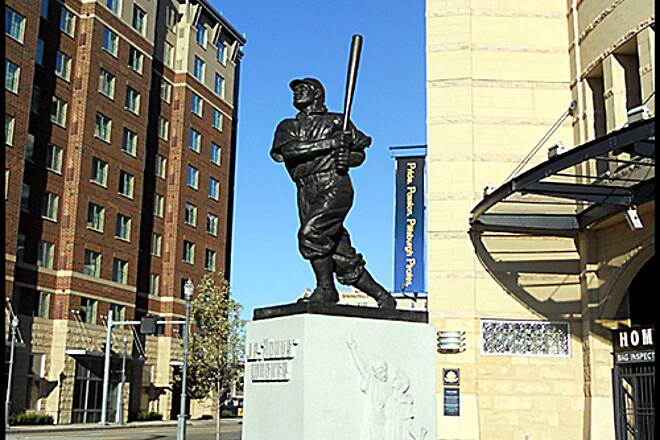 "Three Rivers Heritage Trail North Shore Trail ""Honus Wagner statue"" - The trail passes in front of PNC Park, home of the Pittsburgh Pirates. A ride around the park features statues of the Pirate's greats Honus Wagner, Bill Mazeroski, Roberto Clemente and Willie Stargell."