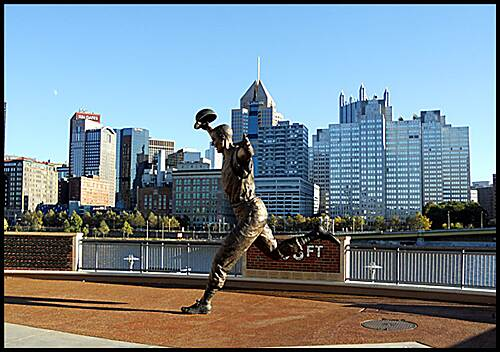 "Three Rivers Heritage Trail North Shore Trail  ""Bill Mazeroski statue"" - The trail passes in front of PNC Park, home of the Pittsburgh Pirates. A ride around the park features statues of the Pirate's greats Honus Wagner, Bill Mazeroski, Roberto Clemente and Willie Stargell."