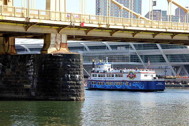 "Three Rivers Heritage Trail Gateway Clipper ""Dutchess"" under the 7th St Bridge in Front of the Convention Center"