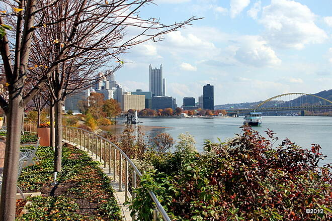 Three Rivers Heritage Trail Pittsburgh as seen from the North Shore Trail near Rivers Casino