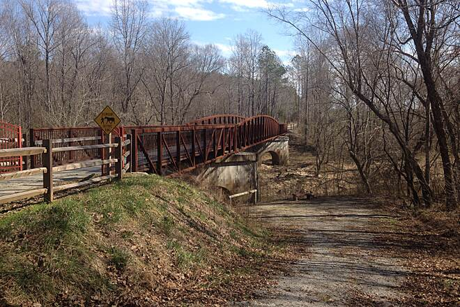 Tobacco Heritage Trail bridge on the Tobacco Heritage Trail. Bike ride on Feb. 25, 2017 crossing one of many bridges along the trail.