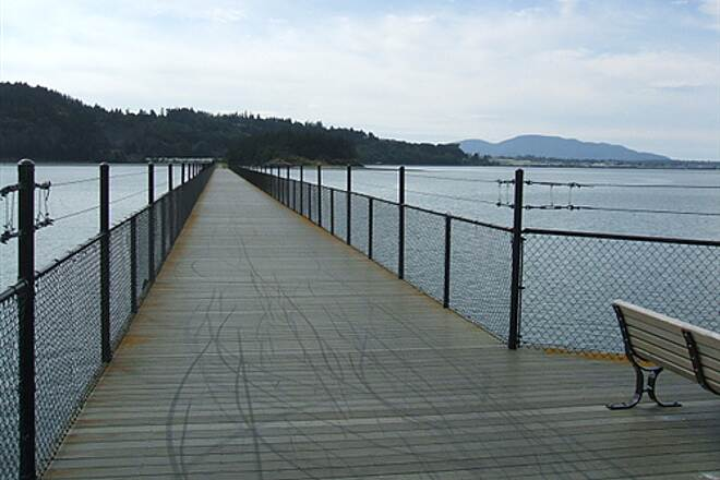 Tommy Thompson Trail On the trestle Looking back at the spit
