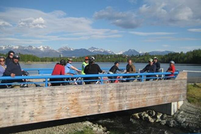Tony Knowles Coastal Trail at the lagoon this was a photo from the Neighborhoods USA bike tour given by Bicycle Commuters of Anchorage (BCA) and MOA.