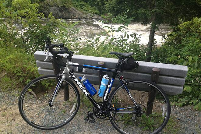 Toonerville Rail-Trail White water on Black River A pleasant bench overlooking a swift section of the Black River