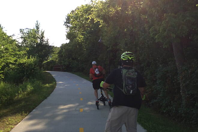 Town Branch Trail (Fayetteville) Last Sunday of Month Ride The founder of the #trikke Global LSM (Last Saturday/Sunday of the Month) Movement was in town for the June LSM and we carved Town Branch Trail Loop as the shadows grew long.