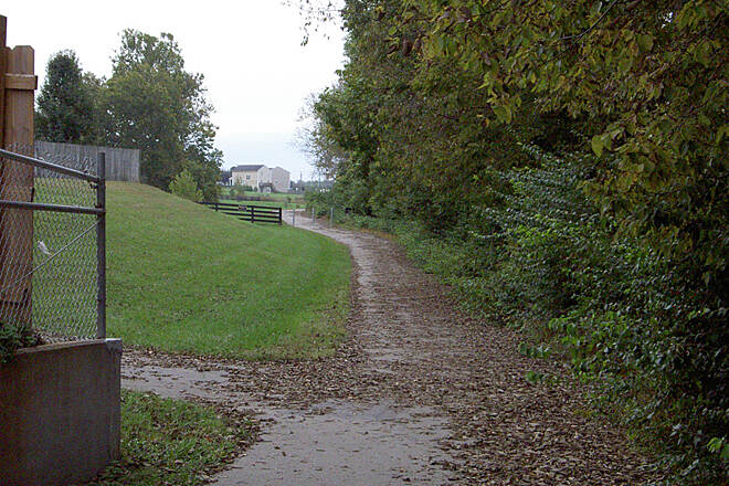 Town Branch Trail (KY) Behind houses Oct 2014 Along Seaboard System Railroad
