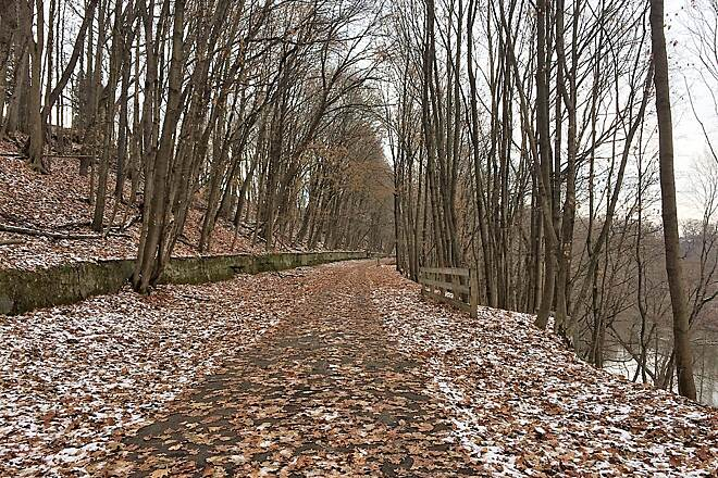Trout Island Trail Looking towards Sharpsville Approx 1/4 mile from the Sharpsville end of the Trail.  December, 2018.