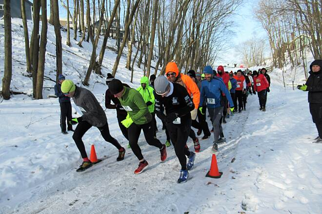 Trout Island Trail Runners Line-Up February, 2019 An annual event which benefits the trail, is held every February.  The 'Trout Island Tromp' attracts runners from 3 different states.