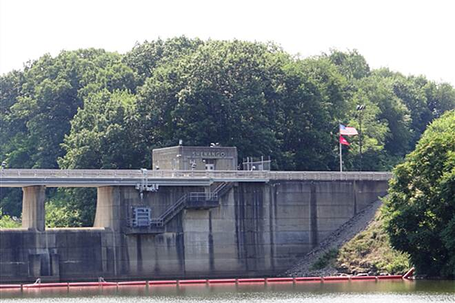 Trout Island Trail Shenango Dam from Reservoir Shenango Dam in June