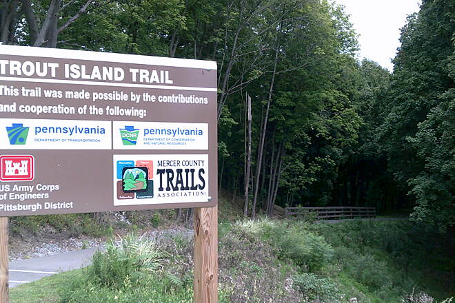 Trout Island Trail Trail Sign-Sharpsville Sign at the beginning of trail in Sharpsville