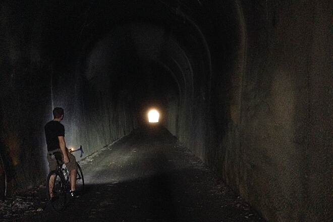 Tunnel Hill State Trail Inside Tunnel WITH Light Brad Wallace