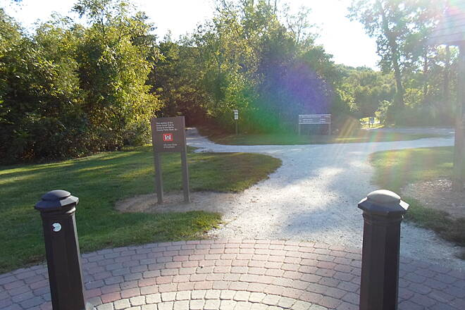 Union Canal Trail Union Canal Trail The trail's terminus in Blue Marsh Rec. Area is marked by a small brick plaza. The trail veers left ahead and goes down a steep hill. Taken Sept. 2014.