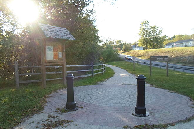 Union Canal Trail Union Canal Trail Brick mini-plaza and kiosk at the Rebers Bridge Road crossing. Palisades Drive can be seen on the right. Taken Sept. 2014.
