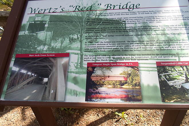 Union Canal Trail Union Canal Trail Interpretive signage explaining the history of Wertz's Covered Bridge at the Berks County Heritage Center.