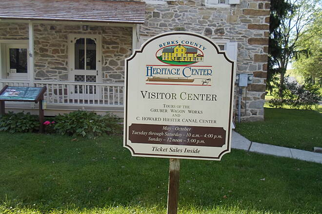 Union Canal Trail Union Canal Trail Sign welcoming guests to the Berks County Heritage Center, accessible by the trail. Taken May 2014.