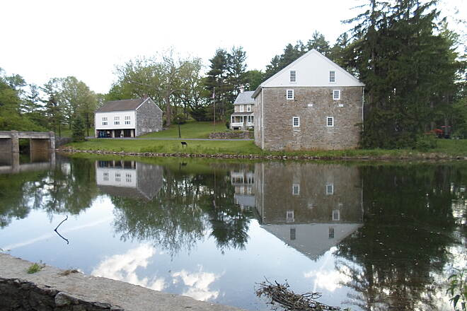 Union Canal Trail Union Canal Trail Historic Gring's Mill, with the reflective waters of the Tulpehocken in the foreground. Taken May 2014.