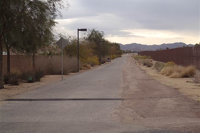 Union Pacific Railroad Trail UPRR Trail Henderson,NV. Looking East @ Henderson Blvd. crossing