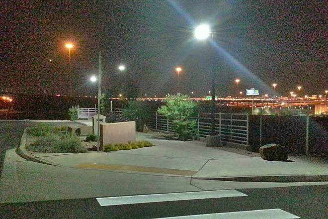 Union Pacific Railroad Trail Mini trailhead/parking area @ 9:22 PM, 04/29/13 We love to ride this trail at night; this is looking northwest @ Fiesta Henderson Blvd. crossing.