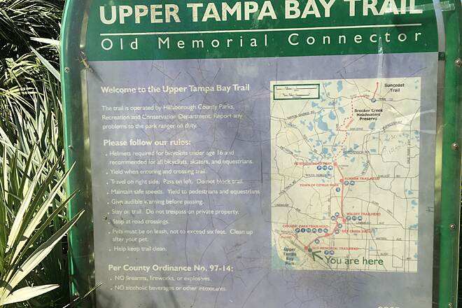 Upper Tampa Bay Trail Upper Tampa Bay Trail Entrance Sign entrance at Seafairer Drive and Memorial Hwy
