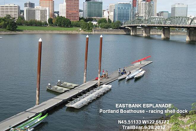 Vera Katz Eastbank Esplanade EASTBANK ESPLANADE A dock for racing shells at the Portland Boathouse.