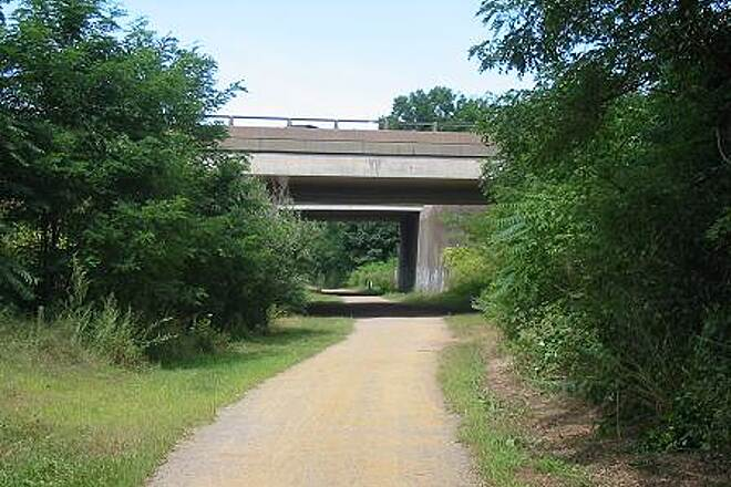 Vernon Rails-to-Trails (Hop River State Park Rockville Spur) Vernon Rail Trail - Rockville Spur Trail passing under Interstate Route 84.