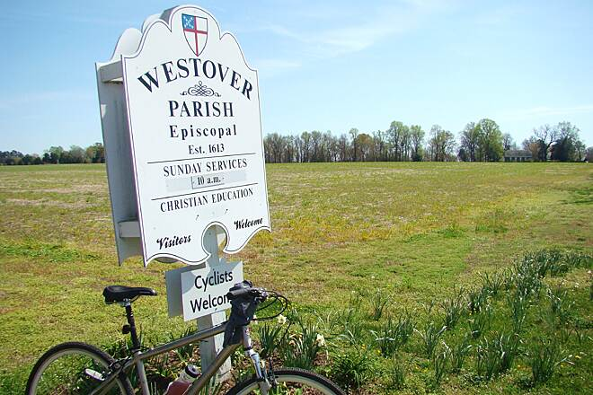 Virginia Capital Trail Westover Parish Just east of mile 24 you'll find the sign for Westover Parish, Cyclists Welcome. In the background there you'll see the 'new' church built around 1730 about 3/10 of a mile up a gravel lane.
