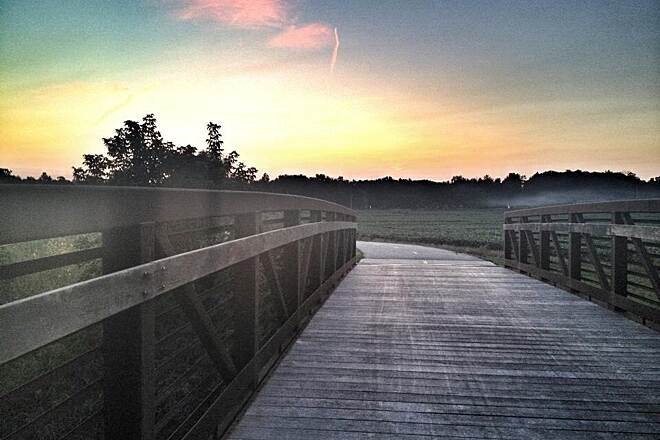 Wabash & Erie Canal Towpath Trail Bridge off Towpath Gorgeous area, especially at sunset as the fog rolls in, at Eagle Marsh