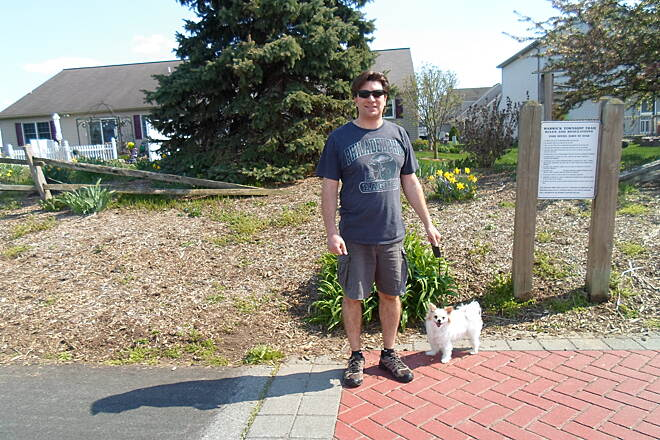 Warwick-to-Ephrata Rail-Trail Warwick-to-Ephrata Rail Trail Man and his dog at the junction of the Warwick-Ephrata and Newport Square trails. Taken May 2015.