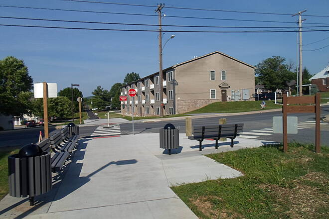 Warwick-to-Ephrata Rail-Trail Warwick-to-Ephrata Rail Trail Akron trailhead at the corner of Fulton and Front streets, now complete. Taken June 2015.