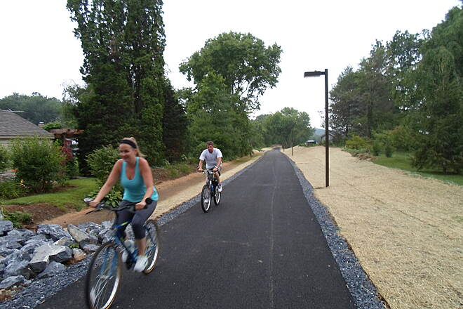 Warwick-to-Ephrata Rail-Trail Warwick-to-Ephrata Rail Trail Cyclists on the new segment of trail on Akron's west end. Taken June 2015.