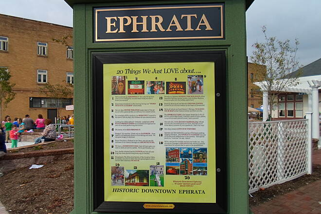 Warwick-to-Ephrata Rail-Trail Ephrata Linear Park Trail New kiosk by the train station, off E. Main Street. Unfortunately, it does not include a map of the trail.