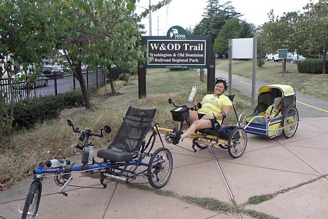 Washington and Old Dominion Railroad Regional Park (W&OD) South end of trail The Ladwigs' trail-train is made up of two Penninger recumbent trikes (no longer in production) connected as a tandem and pulling our disabled son in a CycleTote special needs trailer.
