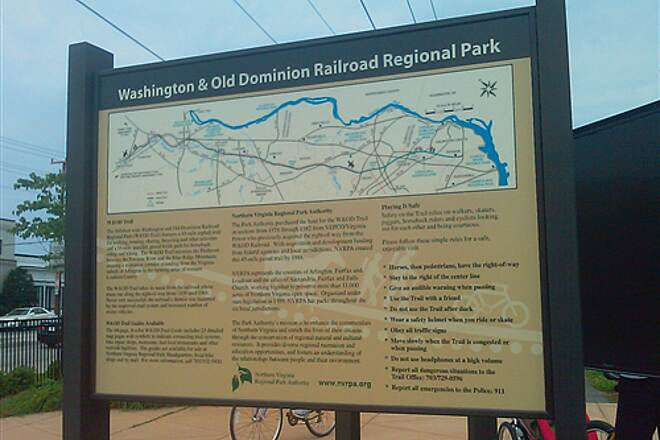 Washington and Old Dominion Railroad Regional Park (W&OD) Map of trail Map of trail at south end of trail