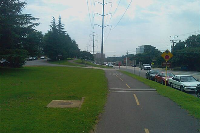 Washington and Old Dominion Railroad Regional Park (W&OD) Trail along road Trail at south end running along side road